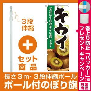 【セット商品】3m・3段伸縮のぼりポール(竿)付 のぼり旗 キウイ 写真 (21945)