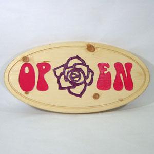 木彫り彫刻 木製看板 OPEN