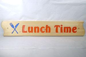 木彫り彫刻 木製看板 Lunch Time
