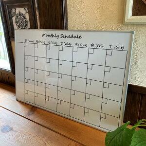 【送料無料】アルミフレームのおしゃれな月間予定表マンスリースケジュール ホワイトボード600X900mm 横型壁掛用 マーカー マグネットポケット付属 カレンダータイプ