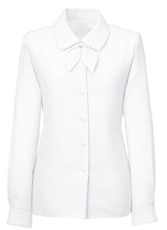 Soft collar origin with a long-sleeved blouse (with Ribbon) rounded impression and the recommended