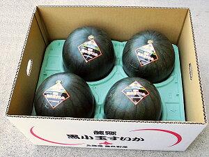 北海道富良野産 黒小玉すいか(秀 約2kg) 4玉セット送料無料出荷期間 6月下旬〜9月中旬