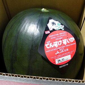 北海道当麻産 でんすけすいか(秀 2L・7〜8kg)×1玉送料無料出荷期間 7月上旬〜8月中旬