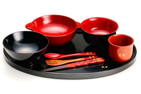 【木製漆器】名前入り・うるわし子供用漆器セット女の子用】汁椀・飯椀の色が選べます(※飯椀が写真と違う商品となります)