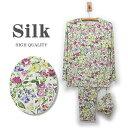 【おすすめ】ボタニカルフラワー【シルク100%パジャマ】婦人 ニットシルク丸首パジャマ ■ シルクジャージー生地の…