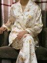 【あす楽】【送料無料】シルクパジャマ長袖【ベージュ小花柄】シルク100%パジャマS→XXXL サイズも豊富シルクナイトウェア《ブランド嬌奴》67種色柄