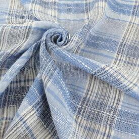 【国産】先染め綿麻 透かし織り織りチェック 150cm幅×1.6m  麻 87%綿 8% ナイロン 5%ホワイト 白 青 ブルー 水色