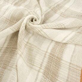 【国産】先染め綿麻 透かし織り織りチェック 148cm幅×1.6m  麻 87% 綿 8% ナイロン 5%ホワイト 白 グレー ベージュ アイボリー