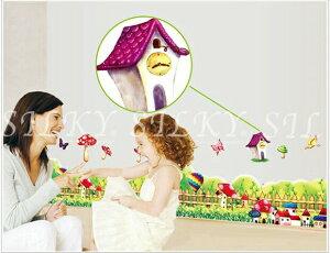 送料無料 ウォールステッカー 【フェンスとお家ときのこ】 秋 小人の家 気球 蝶 グリーン silkyroom ウォール ステッカー シール 北欧 はがせる 壁紙  シルキー