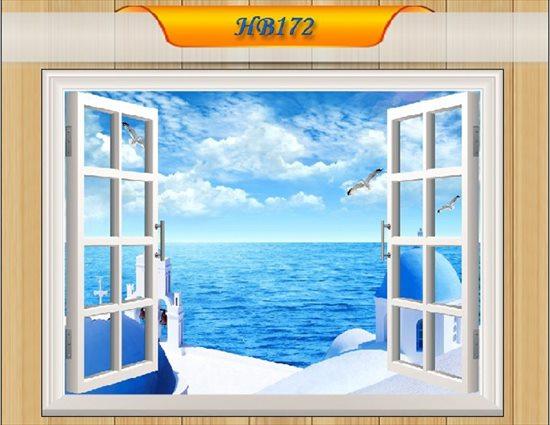 オーダーメイド 【窓 ウィンドーシリーズ防水・(横長)】ウォール ステッカー ポスター シール 裏が透けない 自然 はがせる 壁紙 壁シール ギリシャ サントリー島 地中海 海 白い家  お風呂 風景 はがせる壁紙 壁