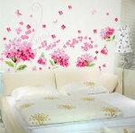 【ピンクのアジサイ】大きいサイズウォールステッカーウォールペーパーシール防水!リビング/子供部屋/お風呂にもOK♪