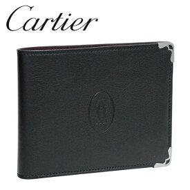 カルティエ 折り財布小銭入れなし ブラック×ボルドー マスト ドゥ カルティエ L3001357