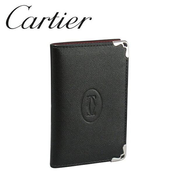[新品] カルティエ カードケース パスケース カードホルダー ブラック/ボルドー マスト・ドゥ・カルティエ L3001370 Cartier[カルティエ] 【ラッピング無料】【送料無料】【楽ギフ_包装】【RCP】