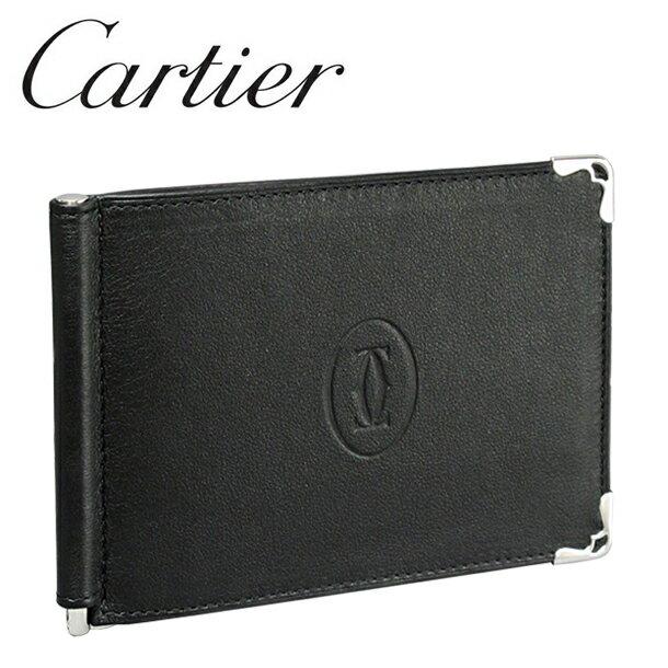 【新品】カルティエ 折り財布マネークリップ レザー ブラック/ボルドー バイカラー マスト・ドゥ・カルティエ L3001371 Cartier 【ラッピング無料】 【送料無料】【RCP】