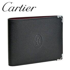 Cartier 折り財布小銭入れなし ブラック/ボルドー マスト ドゥ L3001548 カルティエ