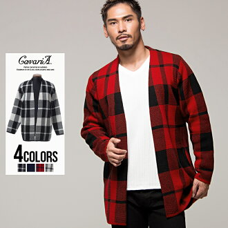 "Winter clothes in the fall and winter all ""CavariA middle length checked pattern knit gown / four-colored ""knit jacket white red navy black black and white M L in the fall and winter thick cardigan men for winter for autumn"