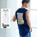 """Tシャツ メンズ ノースリーブ タンクトップ """"CavariA【キャバリア】サーフガールバックプリントノースリーブTシャツ/…"""