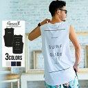 """メンズ ノースリーブ タンクトップ クルーネック """"CavariA【キャバリア】 SURF GLIDEプリントノースリーブTシャツ/全3…"""