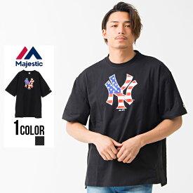 """半袖 tシャツ メンズ """"Majestic【マジェスティック】S/S TEAM LOGO BIG T(NY)/全1色""""【あす楽対応】M L XL ブラック 黒 トップス ブランド 夏 春"""