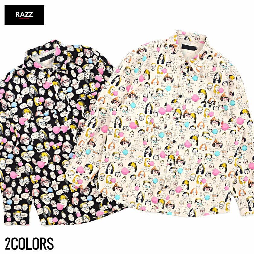 """トップス ライトアウター 長袖シャツ メンズ""""RAZZIS【ラズ】Japan Made Face Print Shirt/全2色""""【あす楽対応】【トップス プリント リネン混 オーバーサイズ ビッグシルエット ユニセックス ホワイト ブラック BITTER系 ビター系】SALE"""