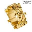 高品質ステンレス 22金 gp 指に巻き付く ゴールド クロスリング 十字架 指輪 クロス 金 ステンレスリング メンズ レデ…