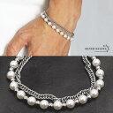 ブレスレット メンズ パールブレスレット 喜平 きへい pearl bracelet ストリート ハード系 silver 銀色 金属 ステン…