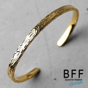 BFF ブランド バングル Sサイズ ゴールド 18K GP gold マイレ スクロール 波 平打ちバングル フラットバンド 腕輪 ブレスレット ハワイアンジュエリー ペア 専用BOX付属