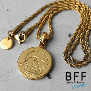 BFF ブランド コイントップネックレス ドルフィンモデル ゴールド 18K GP gold イルカ ハワイアンジュエリー ロープチェーン ペア 専用BOX付属