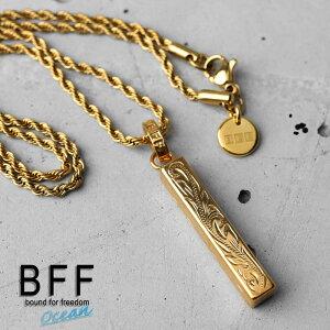 BFF ブランド スティックトップネックレス Sサイズ ゴールド 18K GP gold マイレ スクロール 波 ハワイアンジュエリー ロープチェーン ペア 専用BOX付属