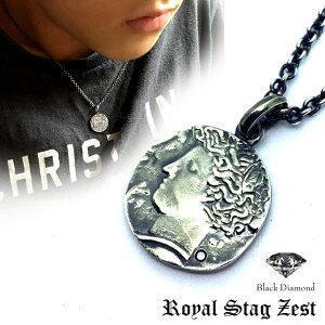 【 送料無料 】 ネックレス メンズ ブランド シルバー925 コイン メダル / Royal Stag Zest ロイヤルスタッグゼスト / ブラックダイヤ ★ クーポン