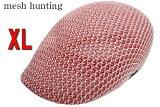 大きいサイズポリニットメッシュハンチング赤白ミックスフリーサイズ鳥打帽メンズレディースゴルフスポーツウォーキング海アウトドア軽量涼しい夏用特大BIGビッグサイズ