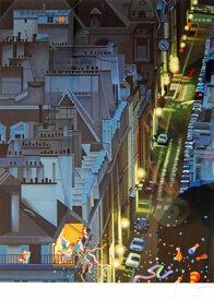 【ヒロヤマガタ】「サンジュルマンの夜」 版画(シルクスクリーン) 6号大 限定250部 【楽天・書画肆しみづ】