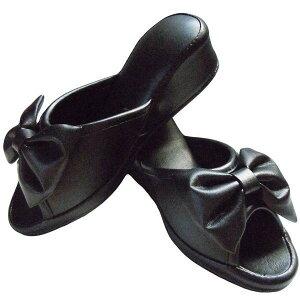 【訳あり】フェイクレザー ヒールスリッパ リボン付き ブラック ヒールアップスリッパ ヒール高 約5cm