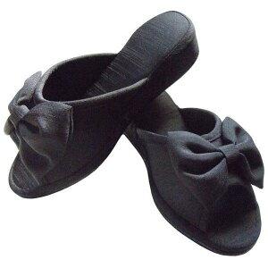 シャンタン ヒールスリッパ リボン付き ブラック ヒールアップスリッパ ヒール高 約4cm