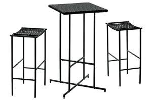 PATIO PETITE MA-ハイテーブル セット MA-HIGHTABLE-SET | ハイスツール ハイテーブル チェア イス セット 3点セット おしゃれ 黒 ブラック インテリア 人工ラタン コンパクト かっこいい バルコニー テ