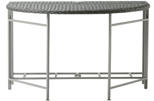 PATIO PETITE ムーン ラタン テーブル MOON RATTAN TABLE | テーブル 机 パラソルテーブル おしゃれ ブラック 黒 折りたたみ 人工ラタン 半円型 コンパクト ガーデン バルコニー テラス 庭 インテリア