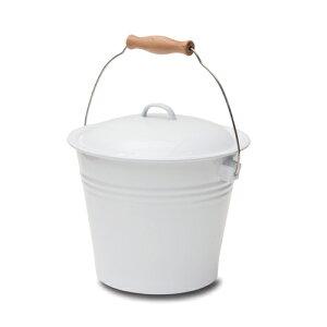 バケツ ホワイト ホーロー 直径24 H32(23)cm | ダストボックス ゴミ箱 ごみばこ ごみ箱 シンプル ガーデン 白 おしゃれ 北欧 新生活 インテリア DIY ディスプレイ インテリア雑貨 園芸 蓋 ふた