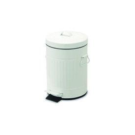 ペダルビン ラウンド S ホワイト ブリキ プラスチック W22 D27 H33cm   ごみ箱 ゴミ箱 ダストボックス ふた付き フタ付き スリム ペダル ペダル付き インテリア おしゃれ オシャレ キッチン リビング 資源ゴミ シンプル デザイン