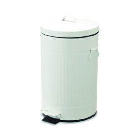 ペダルビン ラウンド L ホワイト ブリキ プラスチック W27.5 D31.5 H45cm   ごみ箱 ゴミ箱 ダストボックス ふた付き フタ付き スリム ペダル ペダル付き インテリア おしゃれ オシャレ キッチン リビング 資源ゴミ シンプル デザイン