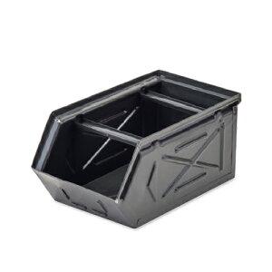 【条件付き送料無料】 スタッキングストレージBOX ブラック スチール W16 D28.5 H13.5cm   ボックス 箱 スタッキング 収納 積み重ね カラー豊富 かわいい オシャレ キッチン リビング 小物 雑貨 イ