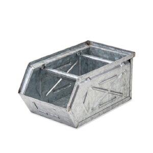 【条件付き送料無料】 スタッキングストレージBOX シルバー スチール W16 D28.5 H13.5cm   ボックス 箱 スタッキング 収納 積み重ね カラー豊富 かわいい オシャレ キッチン リビング 小物 雑貨 イ