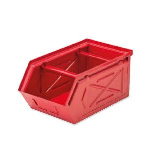 【条件付き送料無料】 スタッキングストレージBOX レッド スチール W16 D28.5 H13.5cm   ボックス 箱 スタッキング 収納 積み重ね カラー豊富 かわいい オシャレ キッチン リビング 小物 雑貨 イン