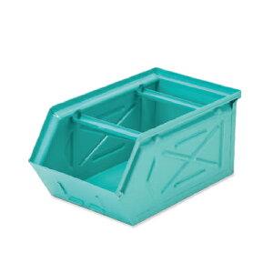 【条件付き送料無料】 スタッキングストレージBOX ターコイズ スチール W16 D28.5 H13.5cm   ボックス 箱 スタッキング 収納 積み重ね カラー豊富 かわいい オシャレ キッチン リビング 小物 雑貨
