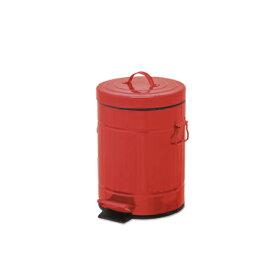 ペダルビン ラウンド S レッド ブリキ プラスチック W22 D27 H33cm   ごみ箱 ゴミ箱 ダストボックス ふた付き フタ付き スリム ペダル ペダル付き インテリア おしゃれ オシャレ キッチン リビング 資源ゴミ シンプル デザイン