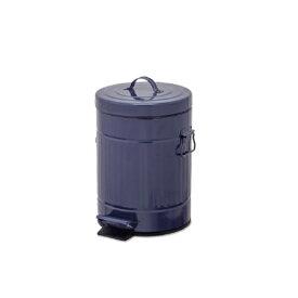 ペダルビン ラウンド S ネイビー ブリキ プラスチック W22 D27 H33cm   ごみ箱 ゴミ箱 ダストボックス ふた付き フタ付き スリム ペダル ペダル付き インテリア おしゃれ オシャレ キッチン リビング 資源ゴミ シンプル デザイン