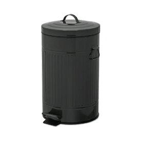 ペダルビン ラウンド L ブラック ブリキ プラスチック W27.5 D31.5 H45cm   ごみ箱 ゴミ箱 ダストボックス ふた付き フタ付き スリム ペダル ペダル付き インテリア おしゃれ オシャレ キッチン リビング 資源ゴミ シンプル デザイン