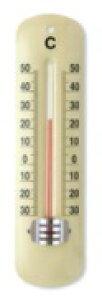【条件付き送料無料】 TOP-2 温度計 ライトイエロー スチール ガラス W5 H19cm | アンティーク調 アナログ温度計 ホーム キッチン レトロ インテリア インテリア雑貨 おしゃれ 店 管理 インフル