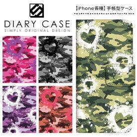 iPhone XS Max ケース XR iPhoneX iPhone8 iPhone7 Plus iPhone6s iPhone6 Plus iPhone5s iPhoneSE iPhoneケース スマホケース 手帳型 アイフォンケース アイフォンカバー / 迷彩柄 ハート