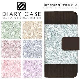 iPhone XS Max ケース XR iPhoneX iPhone8 iPhone7 Plus iPhone6s iPhone6 Plus iPhone5s iPhoneSE iPhoneケース スマホケース 手帳型 アイフォンケース アイフォンカバー / アジアンテイスト ウッド調 花柄