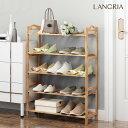LANGRIA シューズラック シューズボックス 下駄箱 靴箱 靴ラック オープンラック 5段 木製 玄関収納 靴置き 収納ラッ…